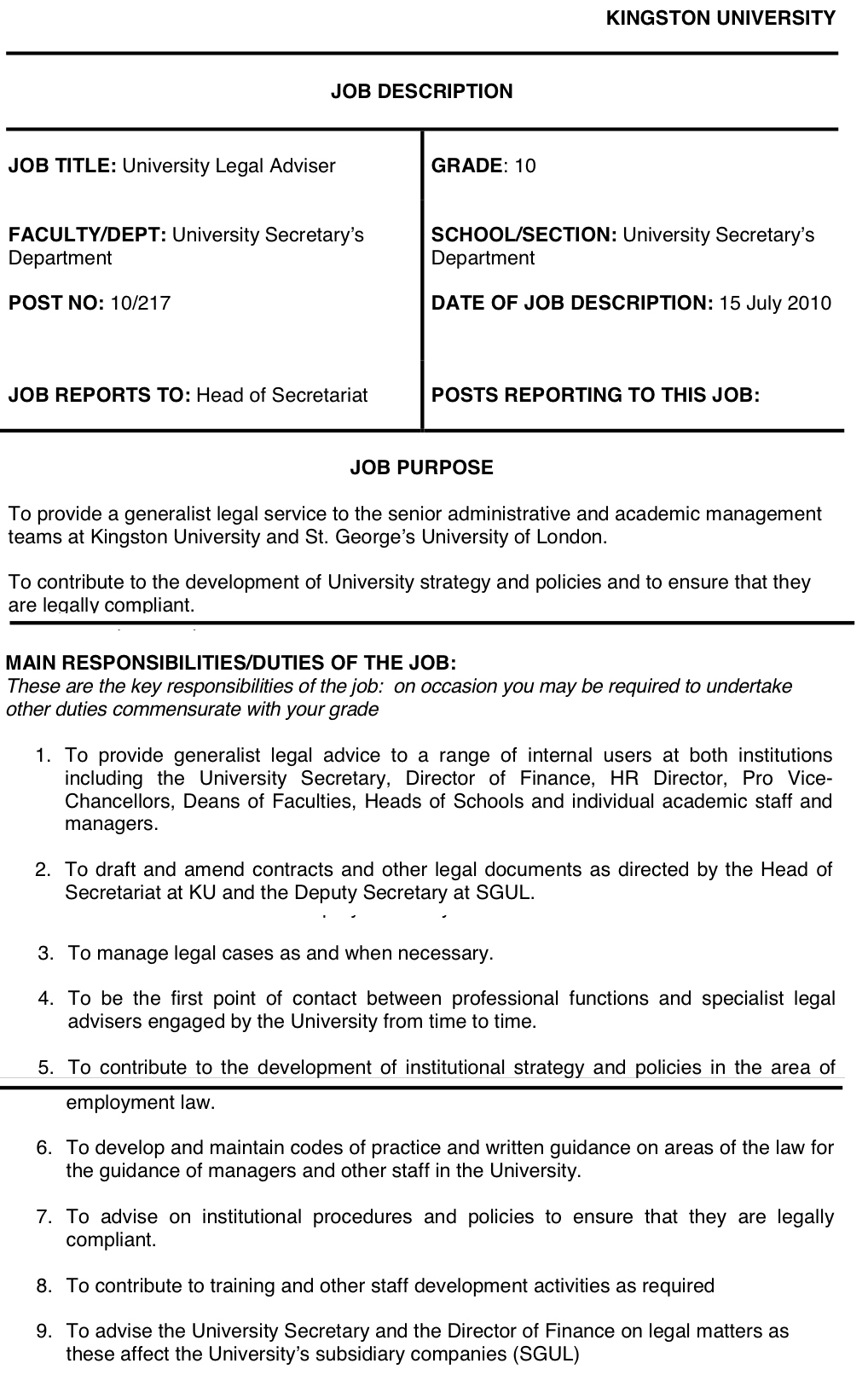 the above job description is for the post of legal adviser to kingston university a full time position paying in excess of 50000year - Practice Director Job Description